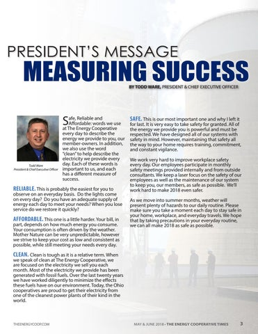 Page 3 of President's Message: Measuring Success