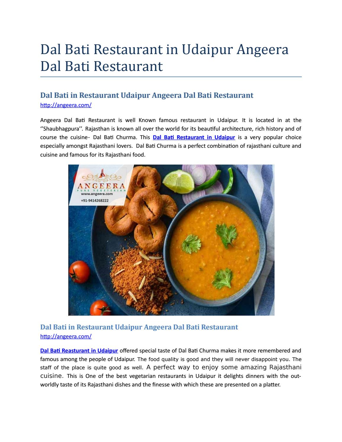 Dal Bati In Restaurant Udaipur Angeera Dal Bati Restaurant By