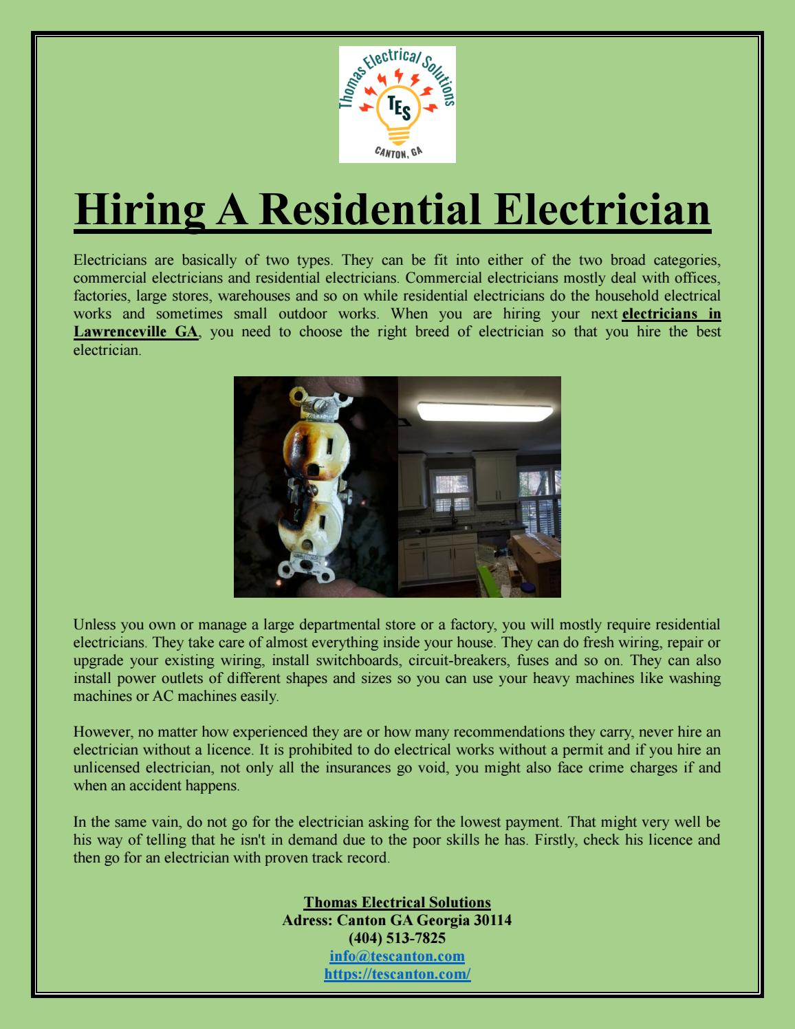 Hiring A Residential Electrician by Thomas Electrical ... on