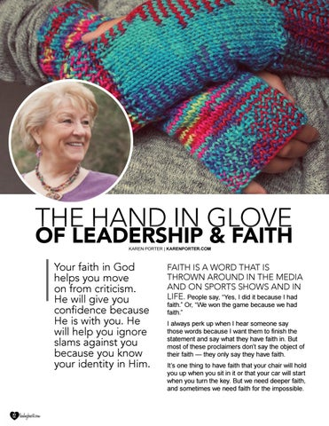Page 12 of The Hand in Glove of Leadership & Faith by Karen Porter