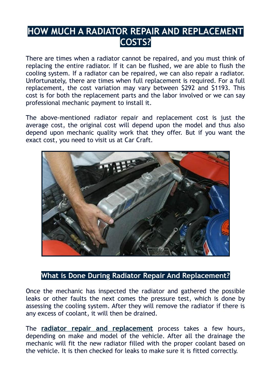 New Radiator Cost >> How Much A Radiator Repair And Replacement Costs By