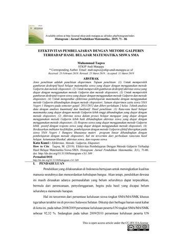 Efektivitas Pembelajaran Dengan Metode Galperin Terhadap Hasil Belajar Matematika Siswa Sma By Jurnal Histogram Issuu