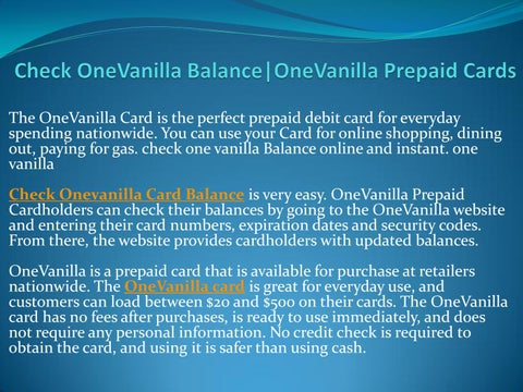 onevanilla support number