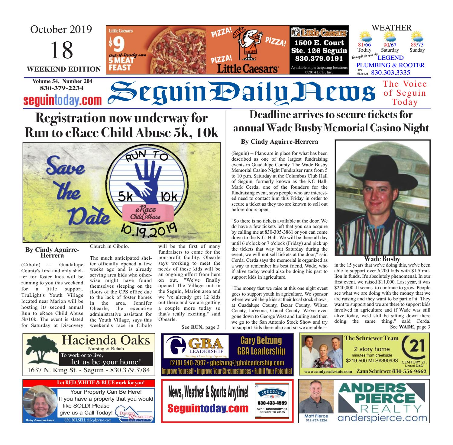 SDN, October 18, 2019 RESAVE by Seguin Daily News - issuu