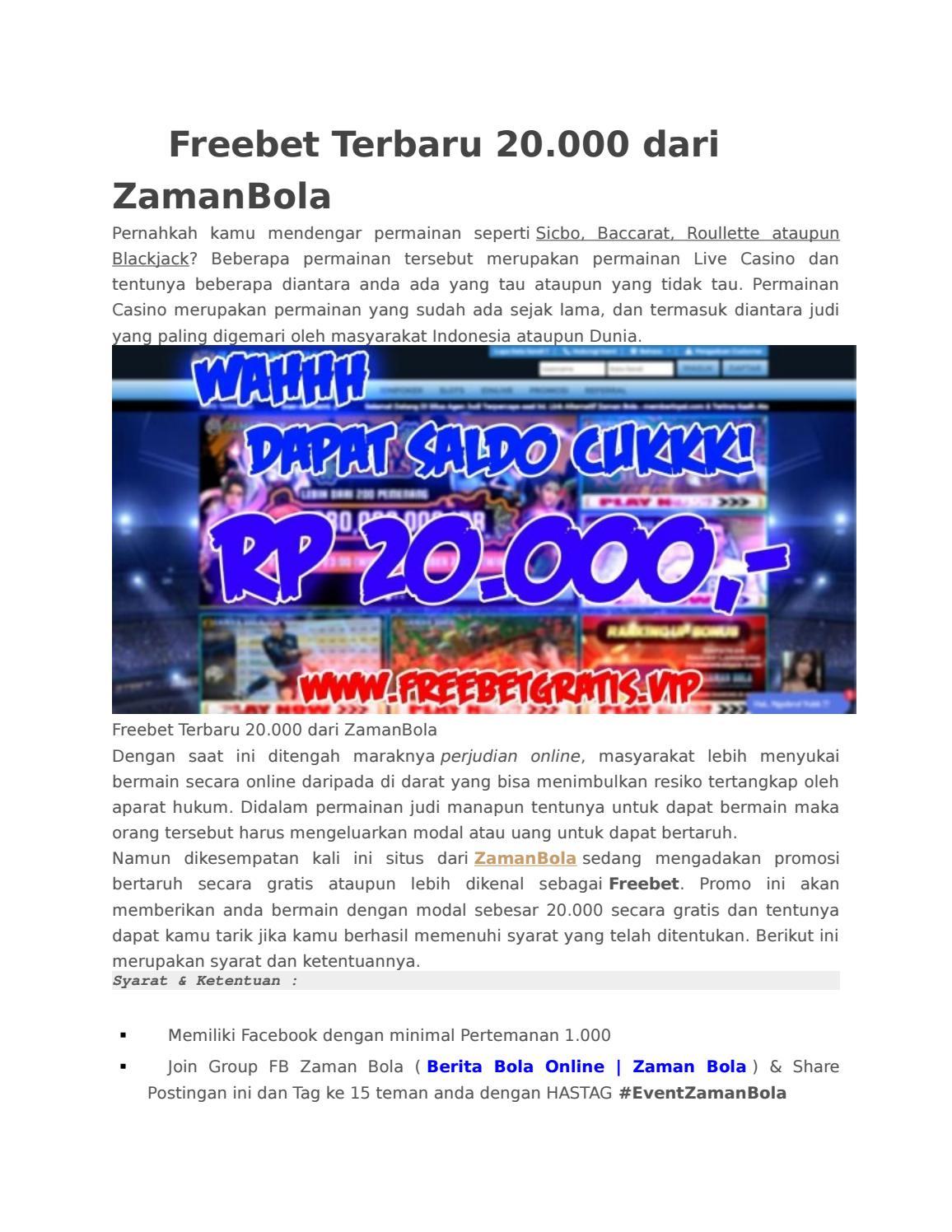 Freebet Terbaru 20 000 Dari Zamanbola By Freebet Terbaru Issuu