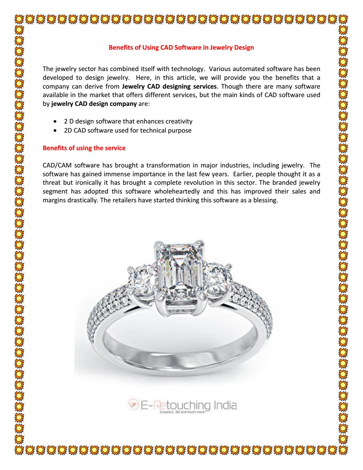 Benefits Of Using Cad Software In Jewelry Design E Retouching India By E Retouching India Issuu