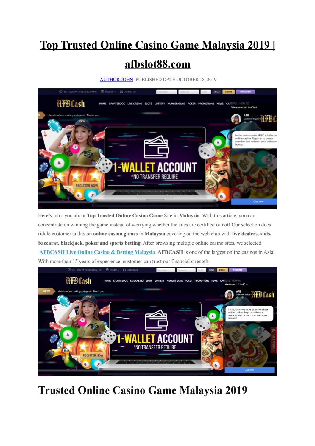 Top Online Casino Game Trusted In Malaysia 2019 Afbslot88 Com By
