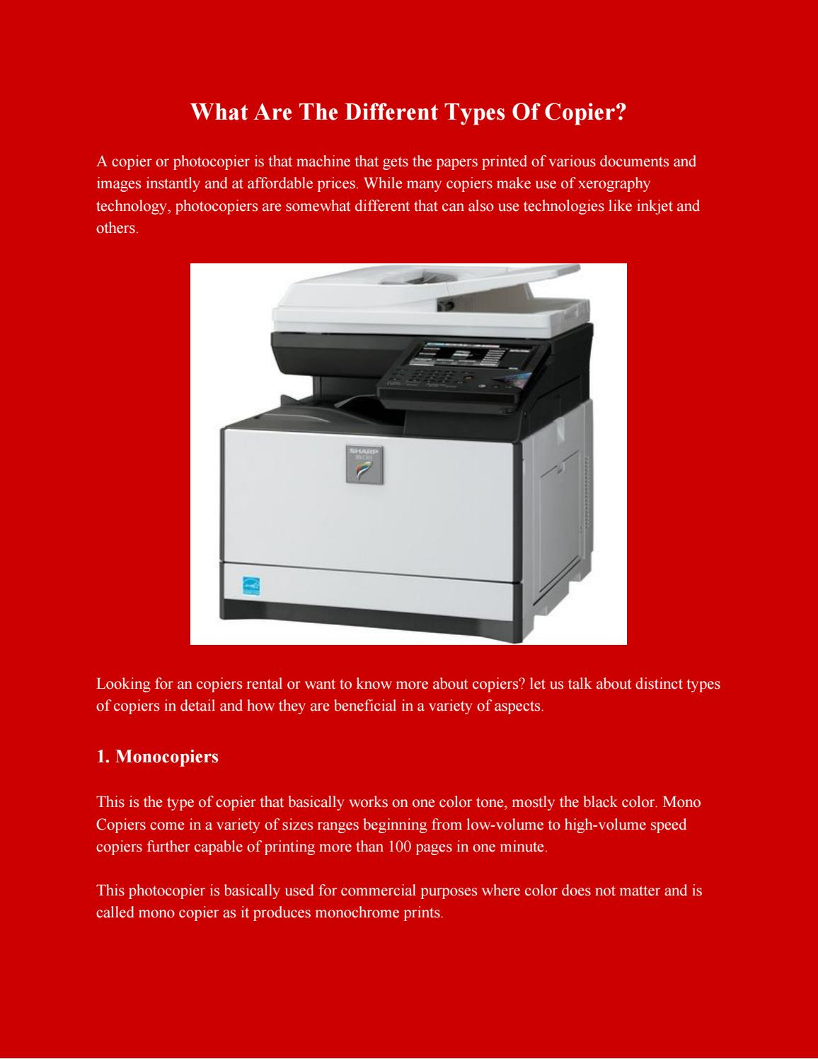 What Are The Different Types Of Copier  Copier Rentals  Copier