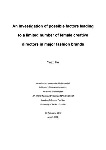 An Investigation Of Possible Factors Leading To A Limited Number Of Female Creative Directors In Maj By London College Of Fashion Issuu
