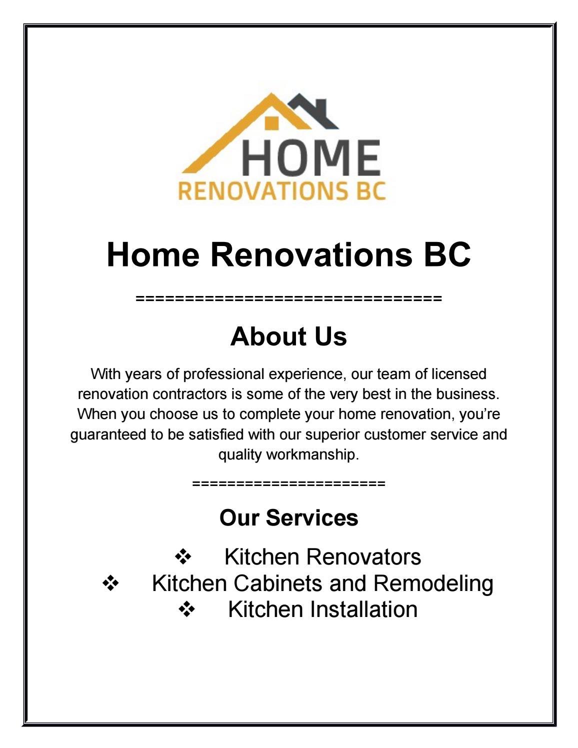 Kitchen Restoration By Home Renovation Bc Issuu