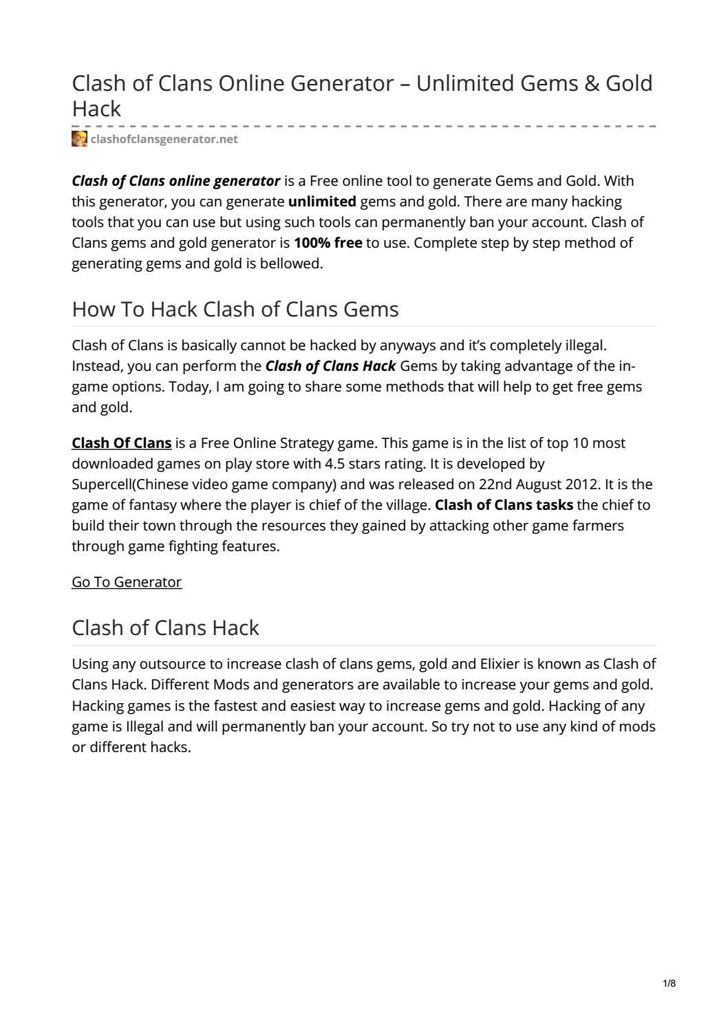 Clash Of Clans Online Generator By Cocgenerator Issuu