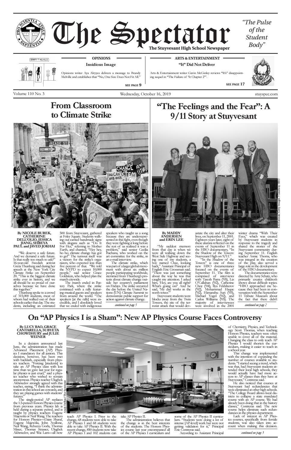 Volume 110, Issue 3 by The Stuyvesant Spectator issuu