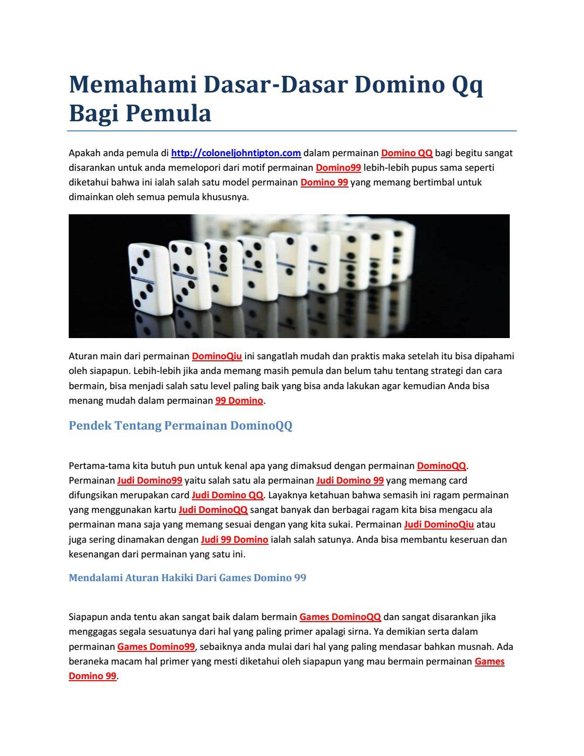 Memahami Dasar Dasar Domino Qq Bagi Pemula By Dominoqiu Issuu