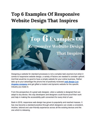 Top 6 Examples Of Responsive Website Design That Inspires By Lawebsitedesign Issuu