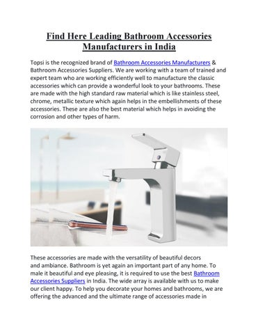 Best Leading Bathroom Accessories Manufacturers In India By Topsibath Info Issuu