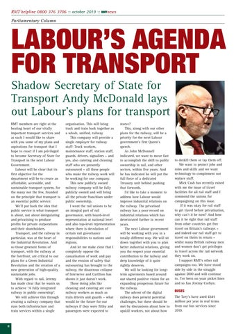 Page 8 of Labour's agenda for Transport