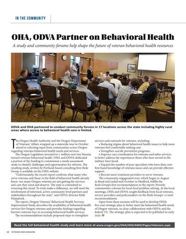Page 14 of OHA, ODVA Partner on Behavioral Health