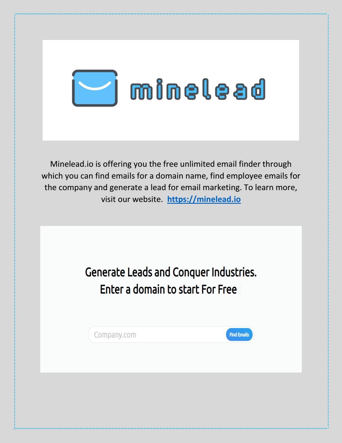 Free Unlimited Email Finder   Minelead.io by mineleadltd   issuu