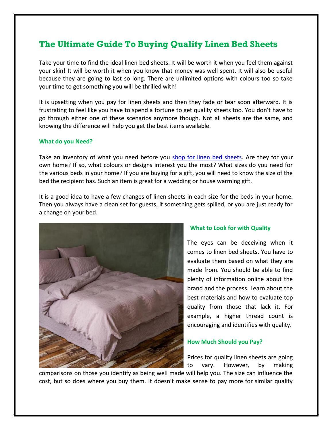 Picture of: The Ultimate Guide To Buying Quality Linen Bed Sheets By Linenshed Issuu