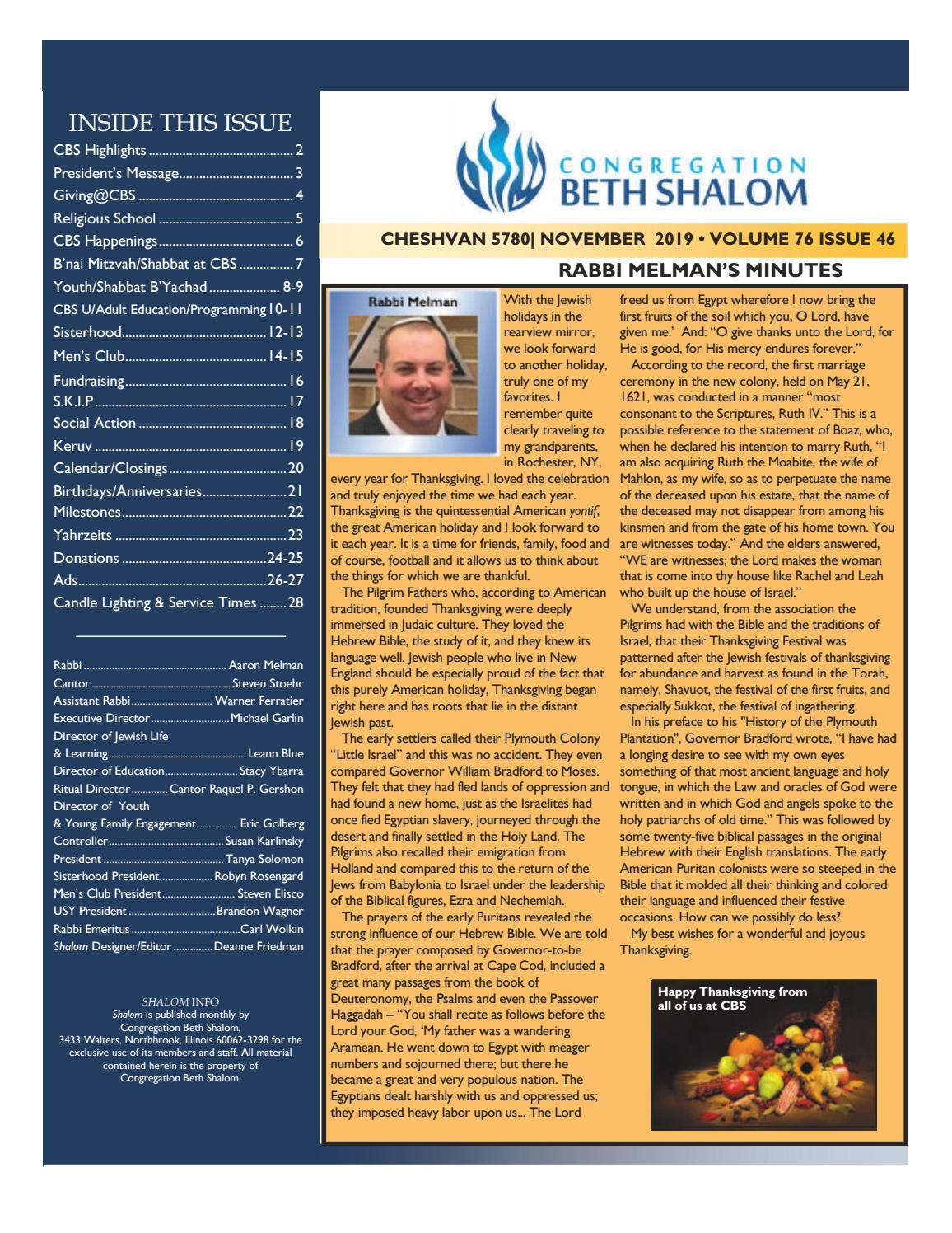 Congregation Beth Shalom November 2019 Bulletin by dfriedman - issuu