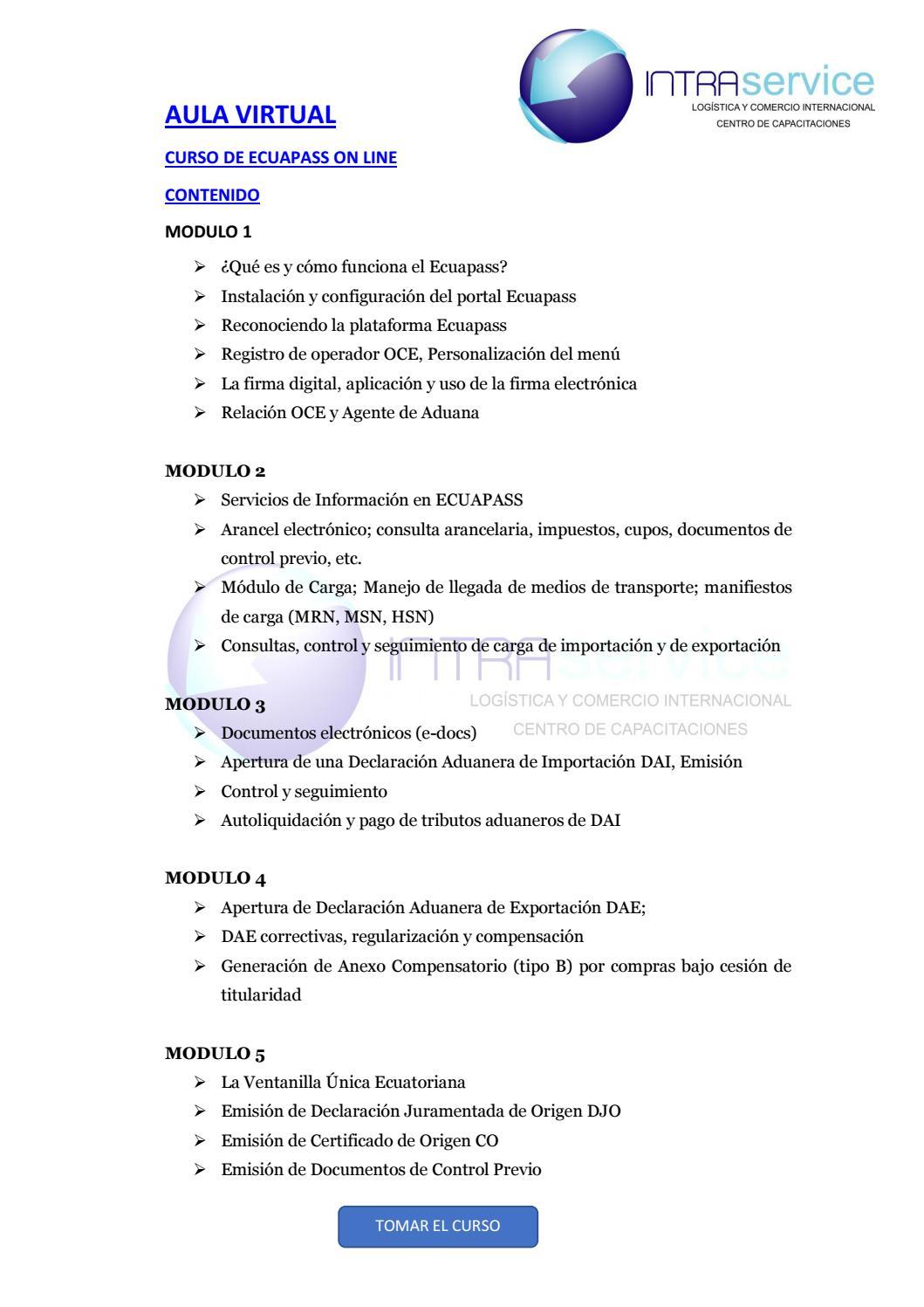 Curso On Line De Ecuapass Contenido By Cic Comunicación Issuu