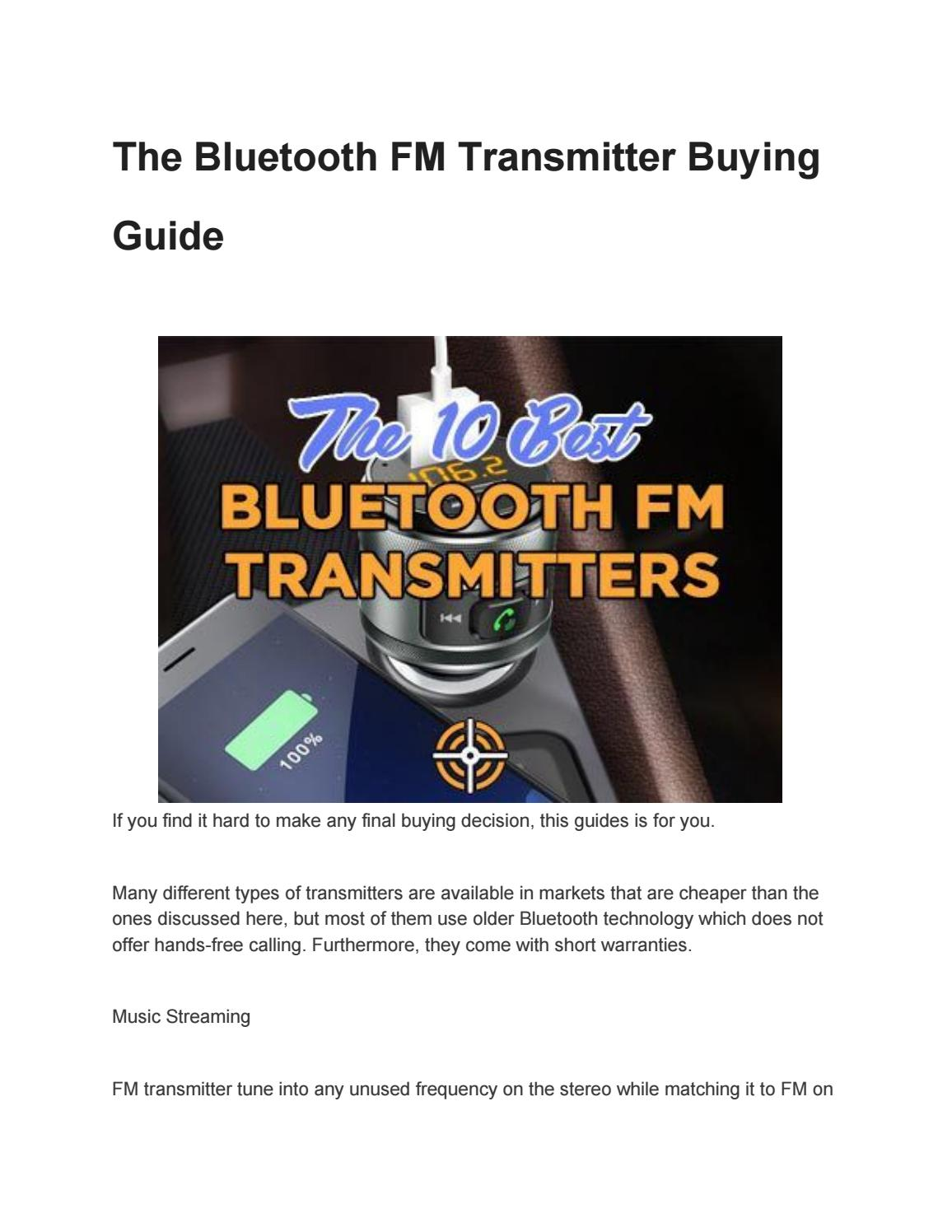 The Bluetooth Fm Transmitter Buying Guide By Thekeenhunter Com Issuu