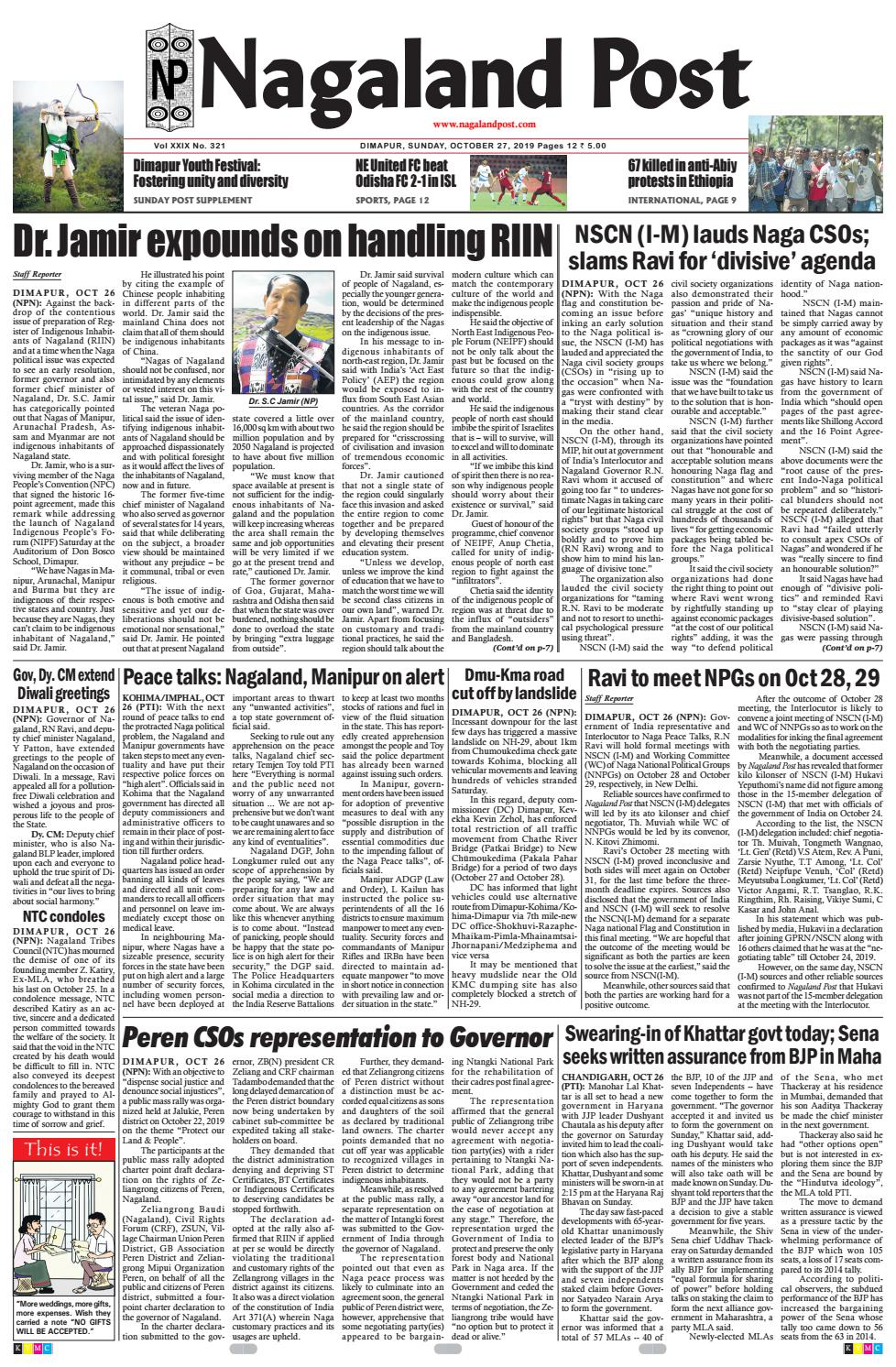 October 27, 2019 by Nagaland Post - issuu