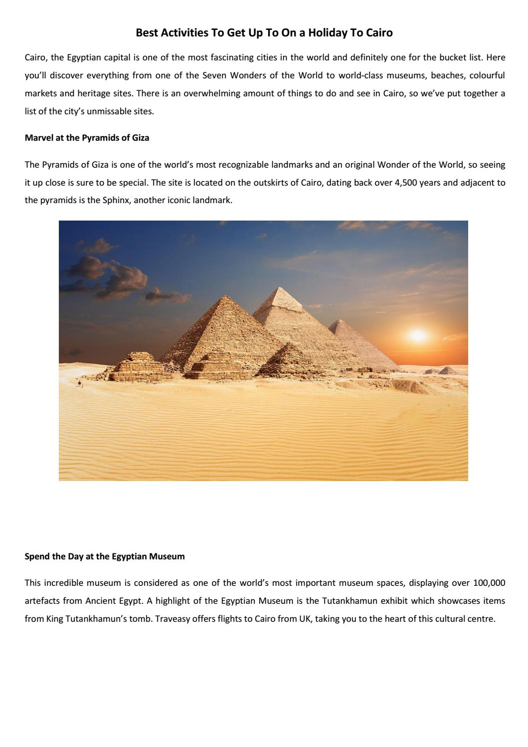 Best Activities To Get Up To On A Holiday To Cairo By Traveasyuk Issuu