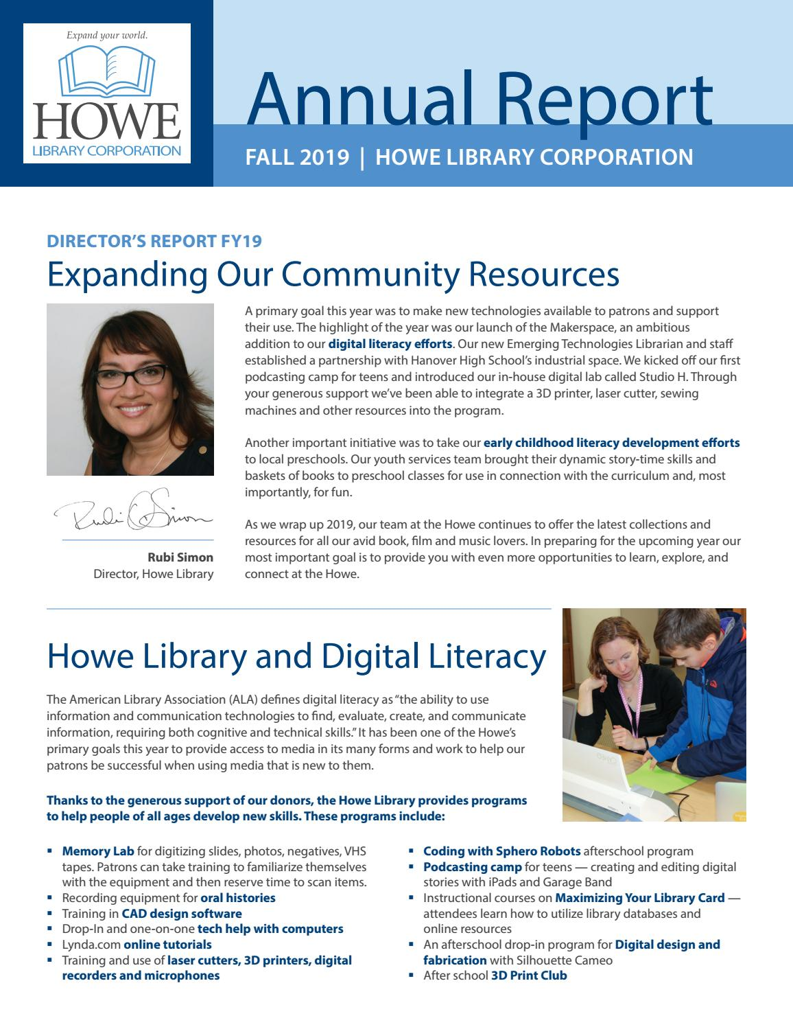 The Howe Library Corporation 2019 Annual Report By The Howe Library Corporation Issuu