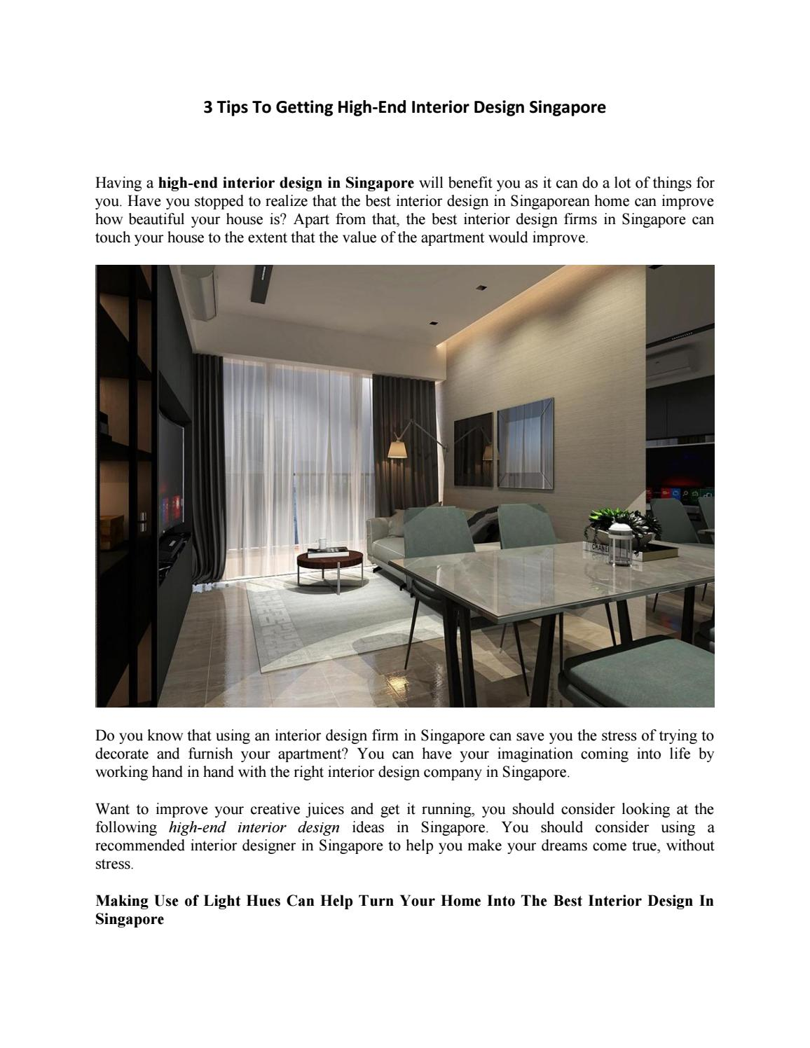 3 Tips To Getting High End Interior Design Singapore By Miske Schultz Issuu