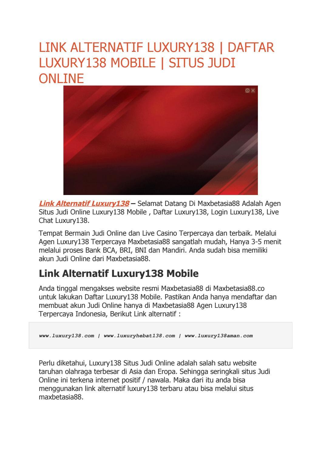 Luxury138 Login