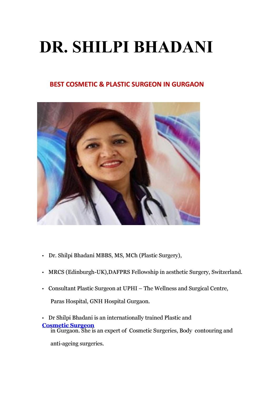 Cosmetic And Plastic Surgeon In Gurgaon Sb Aesthetics By Drshilpibhadani Issuu