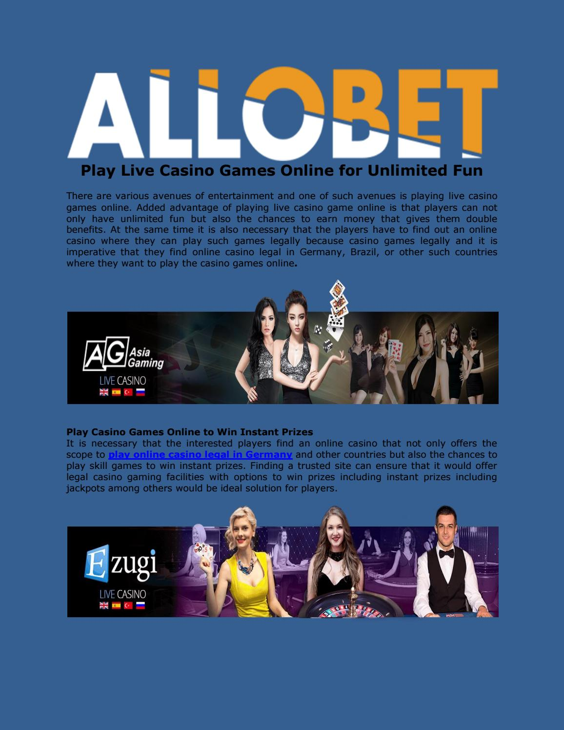 Play Live Casino Games Online For Unlimited Fun By Allo Bet Issuu