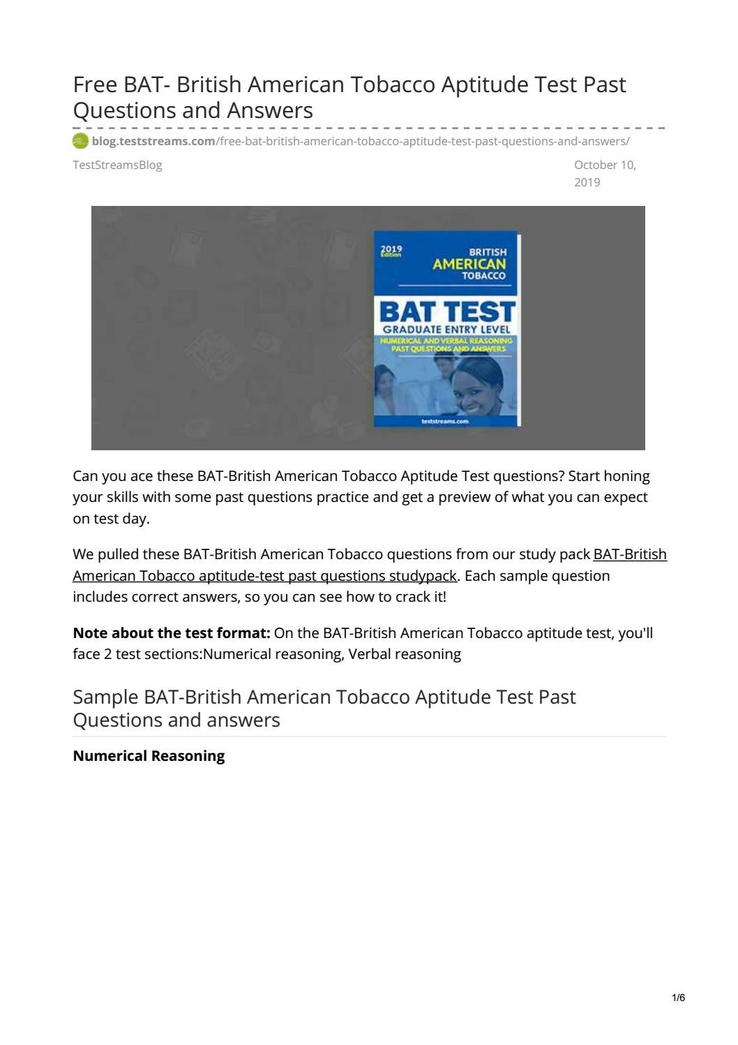 Free Bat British American Tobacco Aptitude Test Past Questions And Answers By Teststreams Issuu