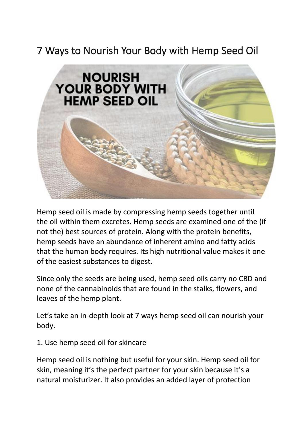 7 Ways To Nourish Your Body With Hemp Seed Oil By Cbdforskincare Issuu