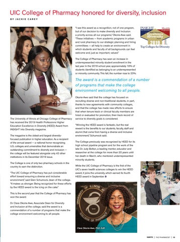 Page 15 of UIC College of Pharmacy Honored for Diversity, Inclusion