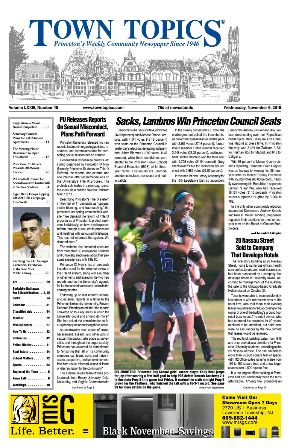 Town Topics Newspaper November 6 By Witherspoon Media Group