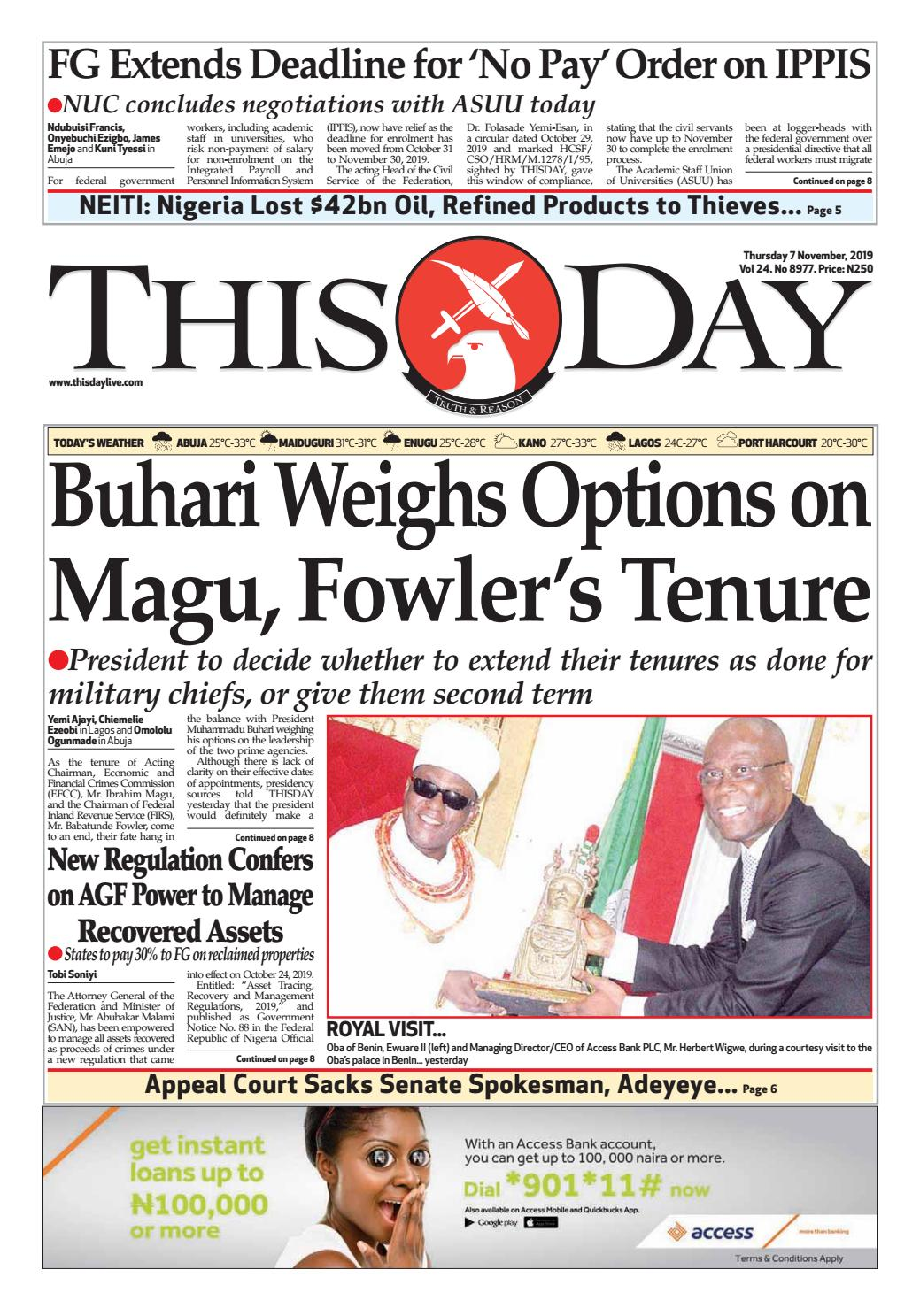 THURSDAY 7TH NOVEMBER 2019 by THISDAY Newspapers Ltd issuu