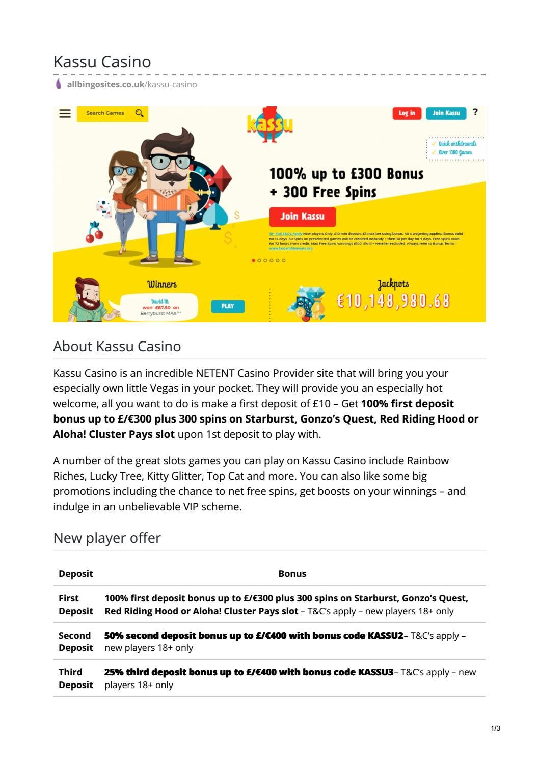Kassu Casino 100 Deposit Bonus Best New Casino Site Uk By