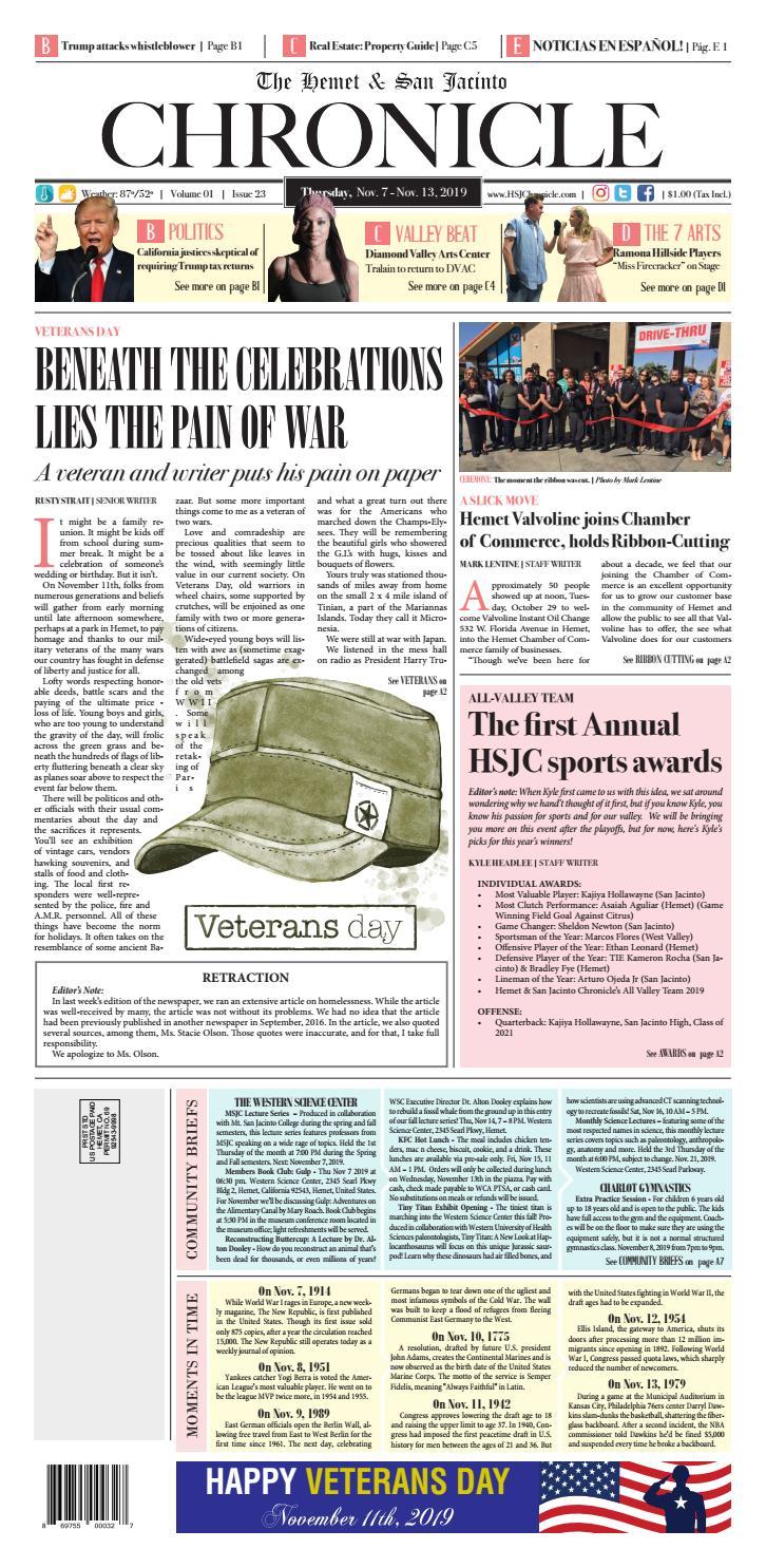 The Hemet & San Jacinto Chronicle November 07th, 2019 by