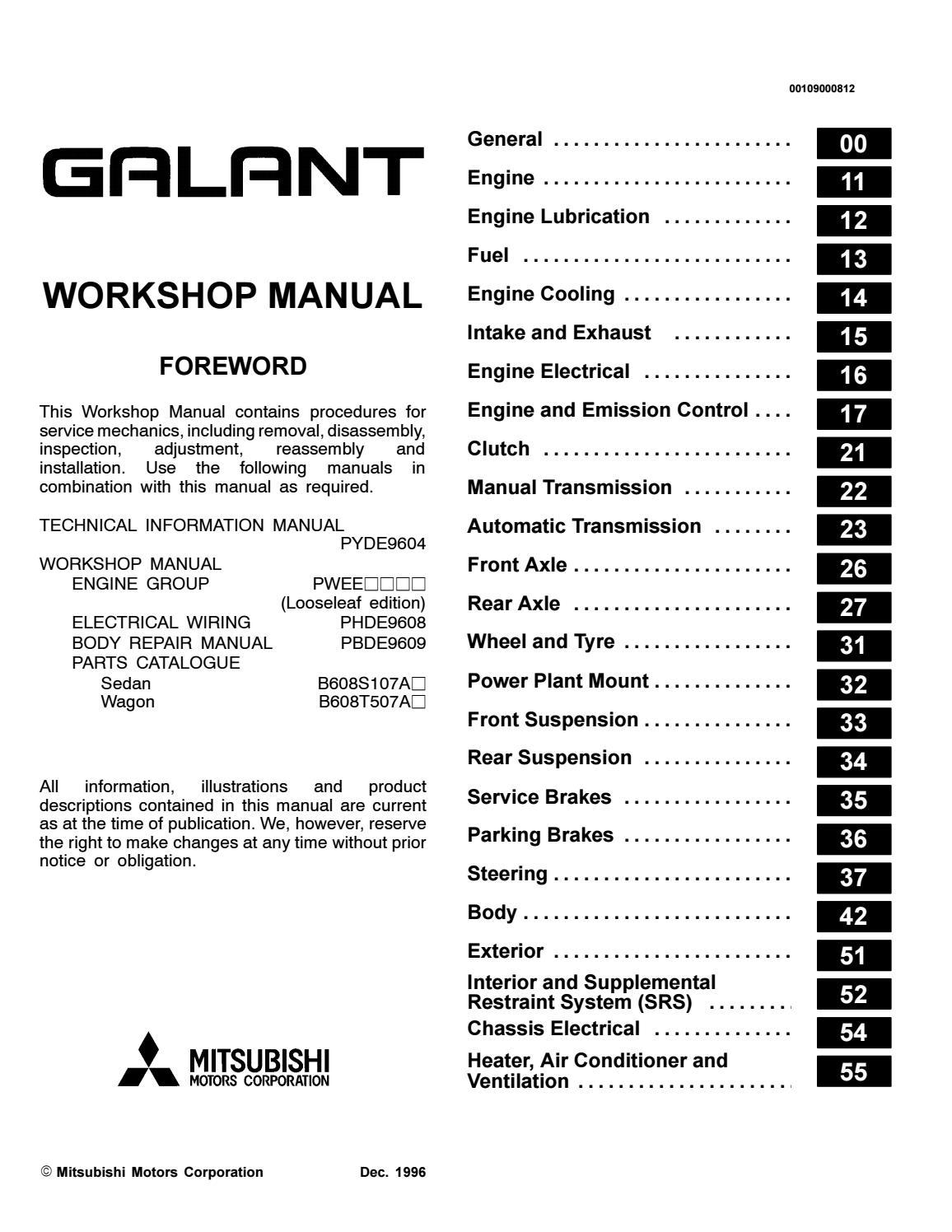 2001 Mitsubishi Galant Service Repair Manual By 16393610 Issuu
