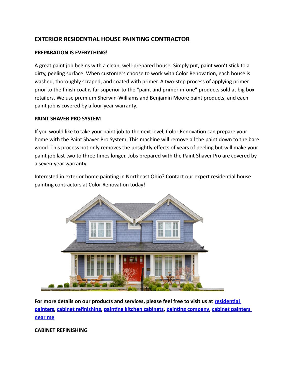 Exterior Residential House Painting Contractor By Colorrenovation Issuu
