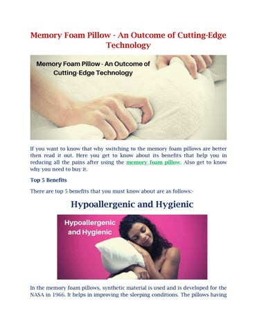 Page 1 of Memory Foam Pillow - An Outcome of Cutting-Edge Technology