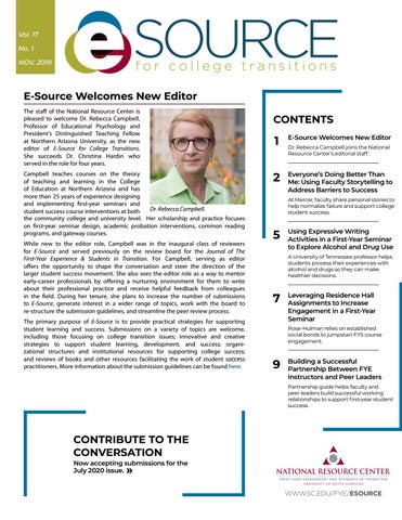 Page 1 of E-Source Welcomes New Editor