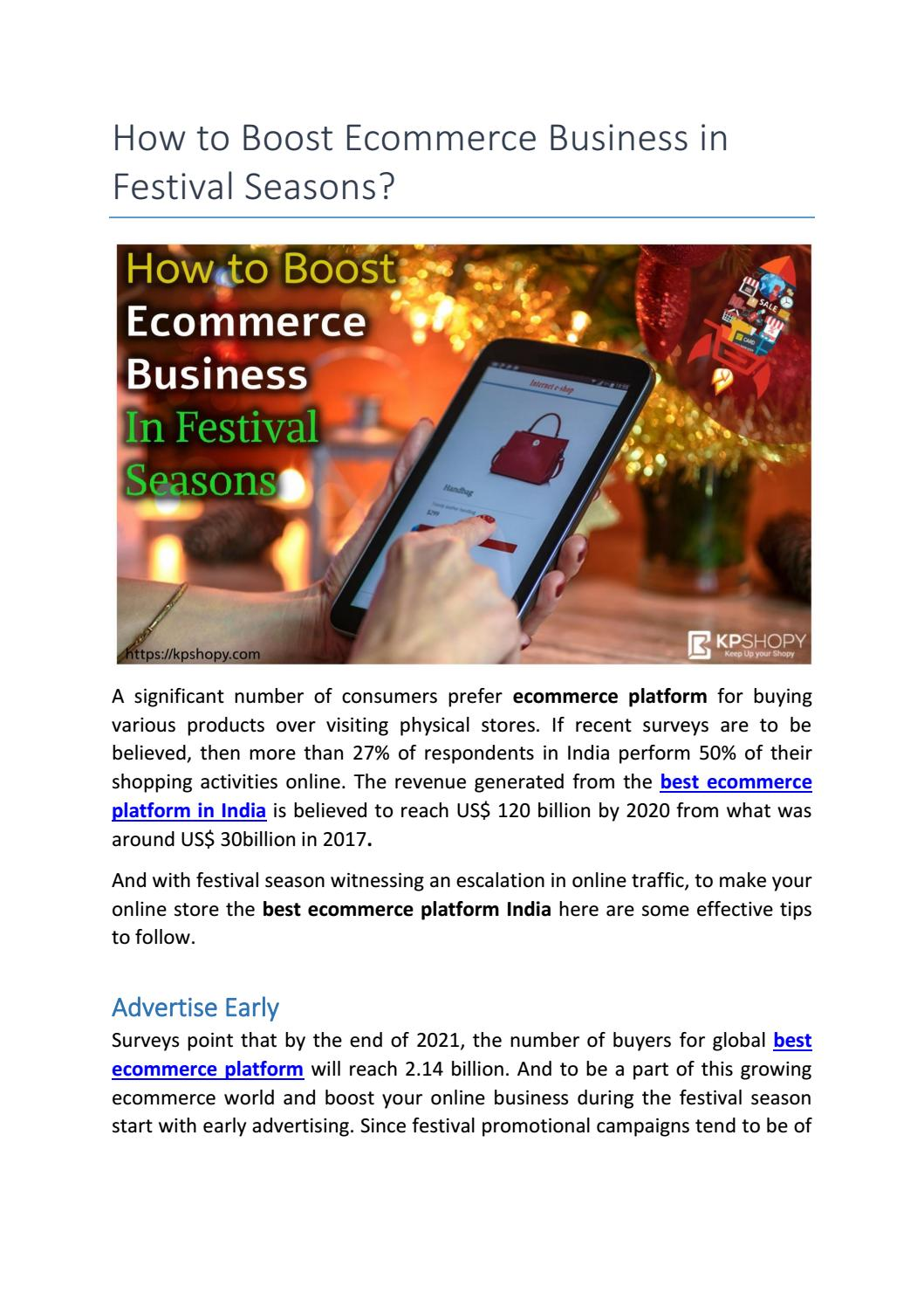 Best Ecommerce Platform 2021 How to Boost Ecommerce Business in Festival Seasons? by Kpshopy