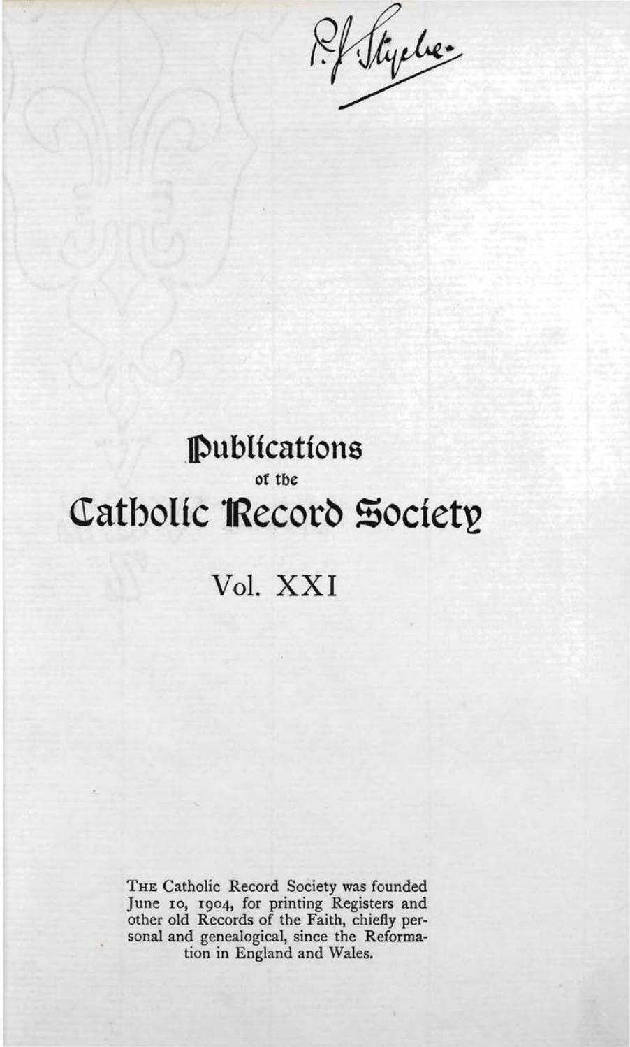 Records Volume 21 The Ven Philip Howard Earl Of Arundel By The Catholic Record Society Issuu