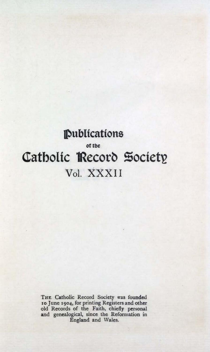 Records Volume 32 Miscellanea By The Catholic Record Society Issuu
