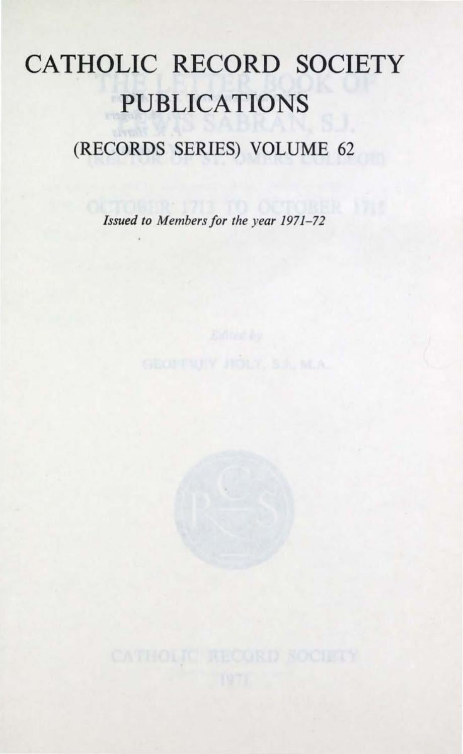 St Malo Fil Rouge records volume 62: the letter book of lewis sabran, s.j.