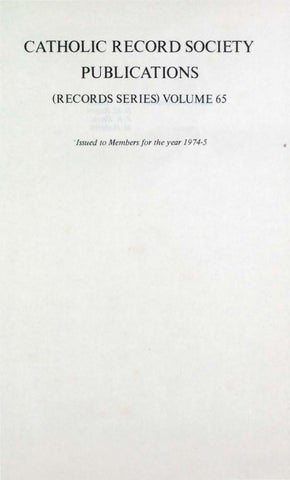Records Volume 65 Post Reformation Catholicism In Bath Volume 1 By The Catholic Record Society Issuu