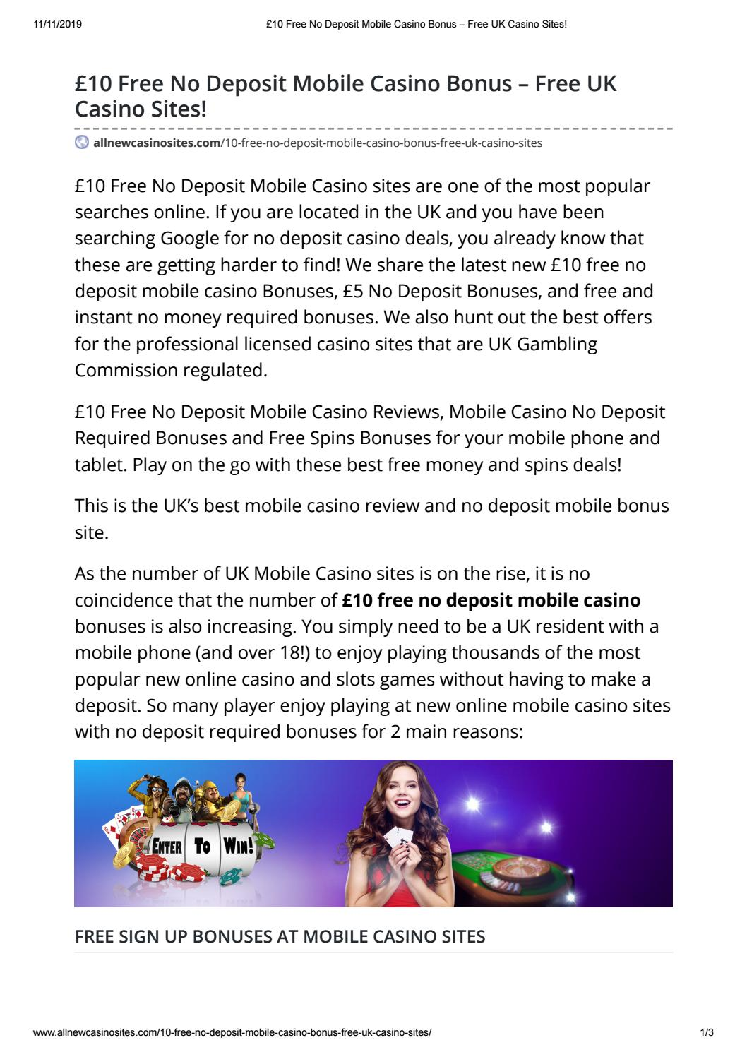 10 Free No Deposit Mobile Casino Bonus Free Uk Casino Sites By